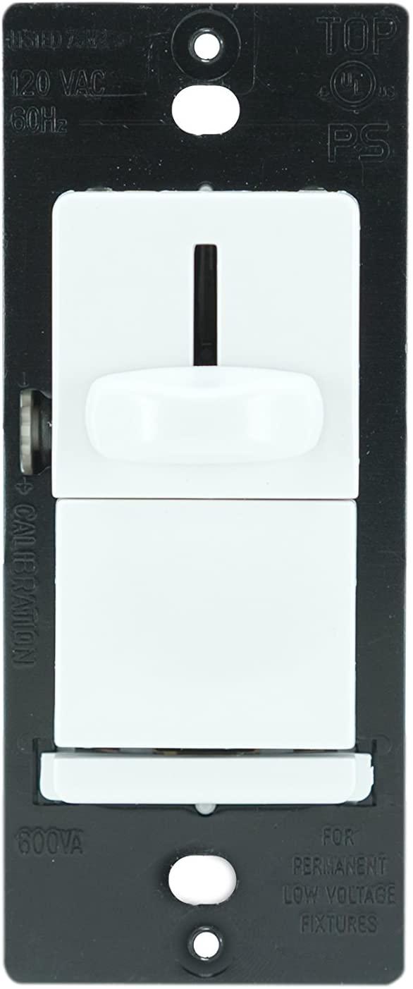 Legrand-Pass & Seymour LSLV603PWV CFL / Incandescent / LED Single Pole Dimmer Switch, Slide Dimmer Low Voltage 600-volt Alternating Three Way Preset, White