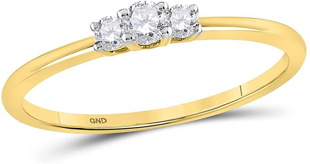 The Diamond Deal 10kt Yellow Gold Womens Round Diamond 3-stone Promise Bridal Ring 1/6 Cttw