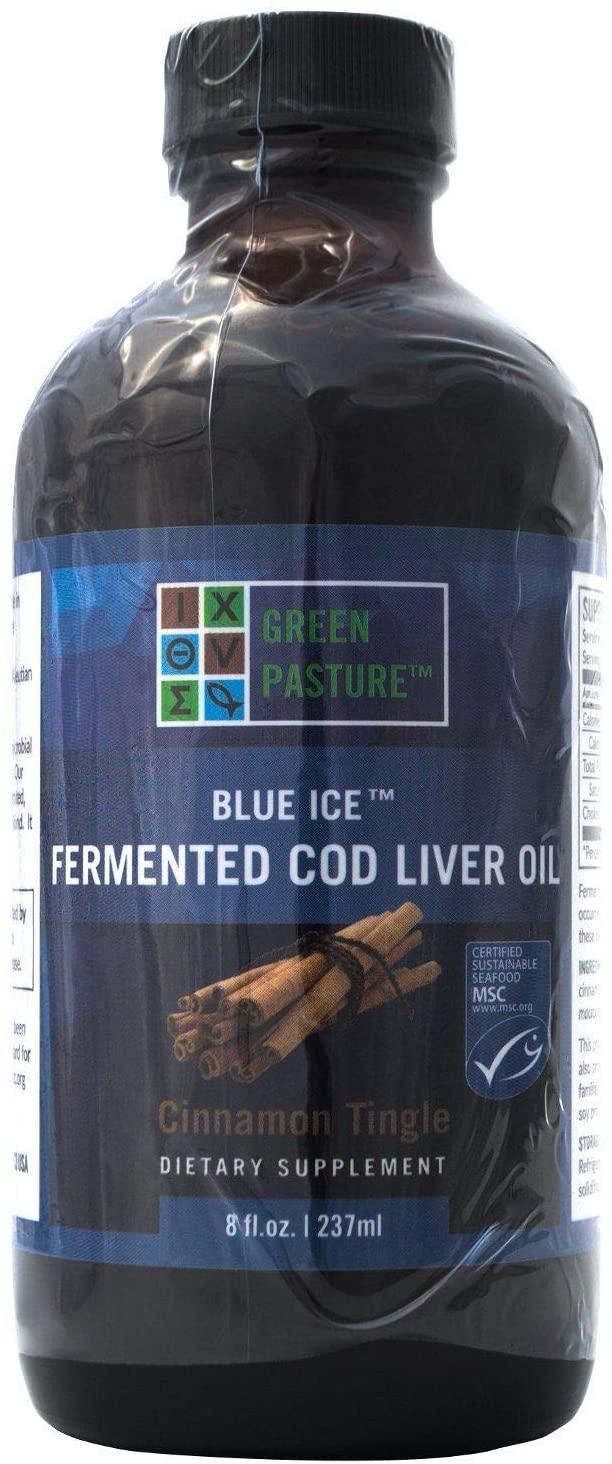Green Pasture Blue Ice Cod Liver Oil Cinnamon Tingle Liquid - 8 Fl Oz. (237ml) = 118 Servings