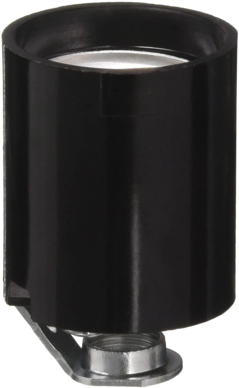 Leviton 3352-8 1-Circuit 1-Piece Keyless Lamp Holder, 660 W, Incandescent, Medium, Pack of 1, Black