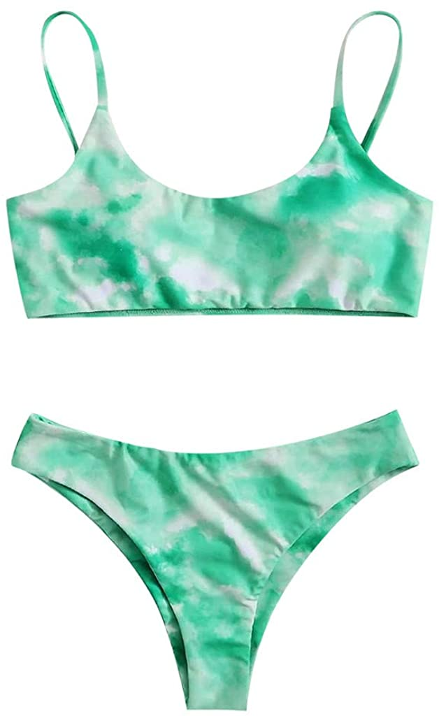 cobcob Women 's Sexy Bathing Suit,Ladies Tie-Dye Print Push Up High Cut 2 Pieces Swimsuit Bikini Set