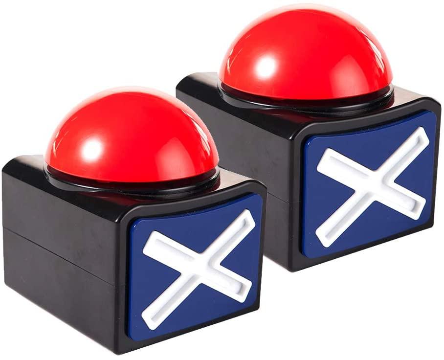 MyMealivos XL Buzzer Alarm Button with Sound and Light Trivia Quiz Game (2X)