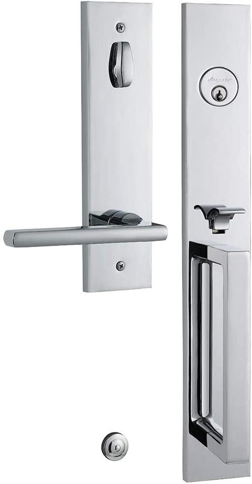 Argento Deadbolt and Door Lock Handleset, Entrance and Front Door Handle,Slim, Square, Modern Design Single-Cylinder Reversable for Left-Handed Doors Lever and Deadbolt Lock Set (Left Handed)