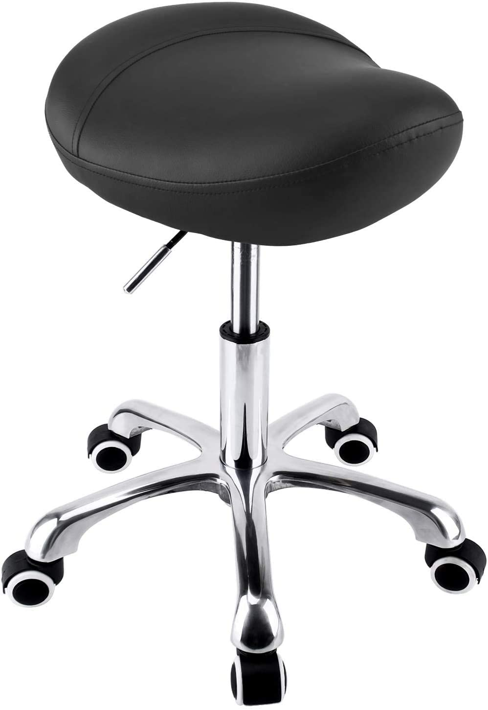 Hydraulic Saddle Stool with Wheels Rolling Adjustable Height for Clinic Dentist Spa Massage Medical Salons Studio