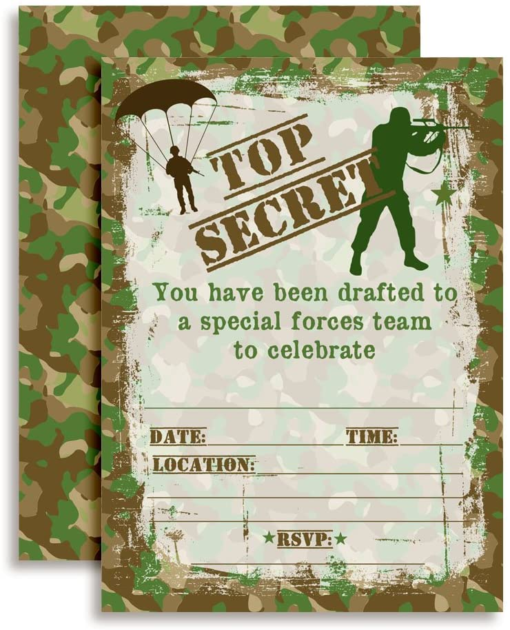 Top Secret Camouflage Army Soldier Birthday Party Invitations, 20 5x7 Fill In Cards with Twenty White Envelopes by AmandaCreation.