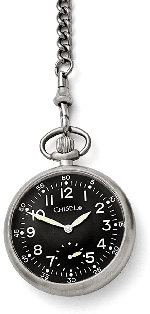 Chisel Stainless Steel Black Dial Pocket Watch 14.5