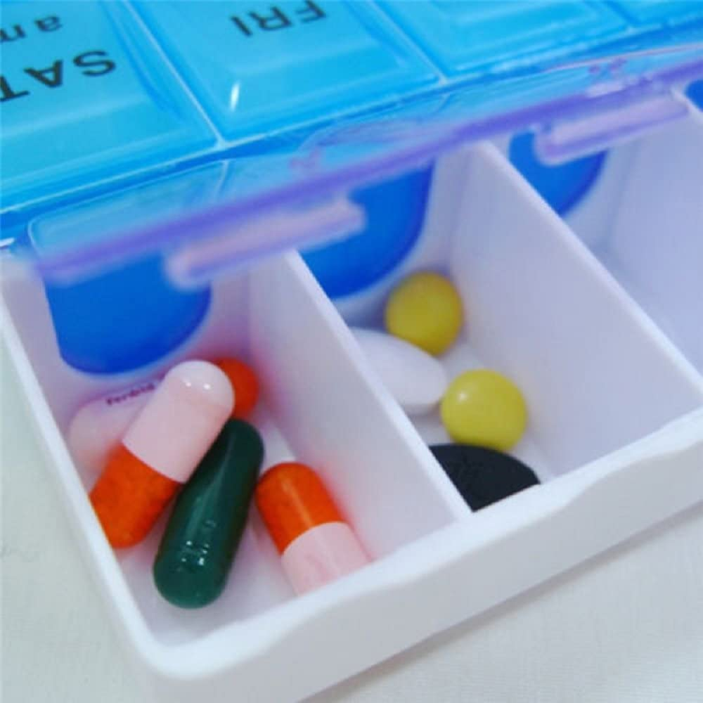14 Compartments Pill Organizer Box - Medicine Reminder with Snap Lids - 7-Day AM/PM for Pills, Vitamins.