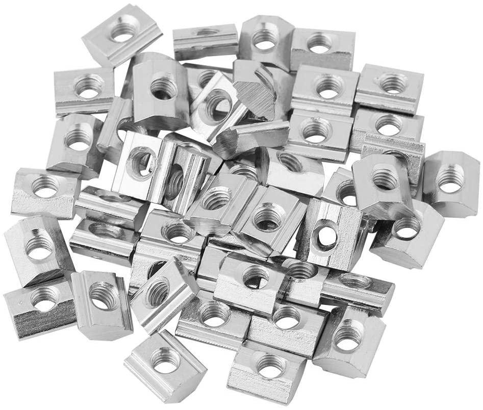Hammer Head Nut 50pcs/lot Nickel Coated Carbon Steel Sliding T-Slot Nut for Aluminum Profile Accessories(M5 20)