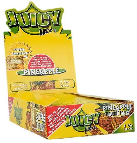 JUICY JAY'S FLAVORED PAPERS 32 LEAVES 1 1/4 PINEAPPLE FLAVOR PACK OF 24