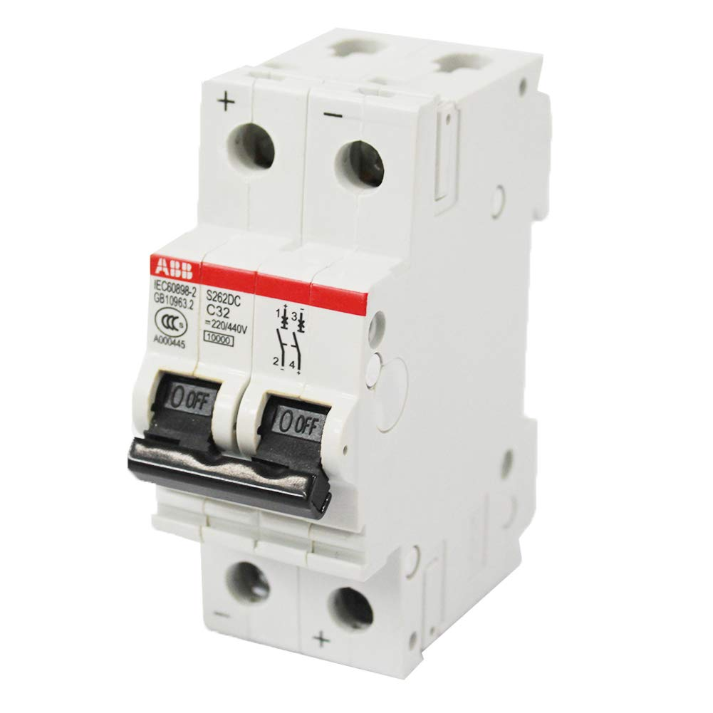 Bibos Breakers 2 Poles 32 Amp 220/440V Miniature Circuit Breaker, ABB S262DC C32 Circuit Interrupter, 1124720E
