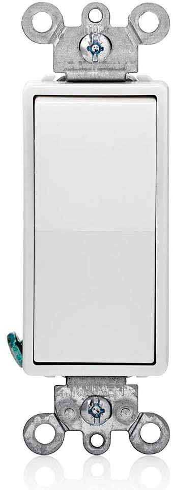 Leviton 112-05604-2WS R58-05604-2Ws Decora Rocker Switch, 120/277 Vac, 15 A, 1 P