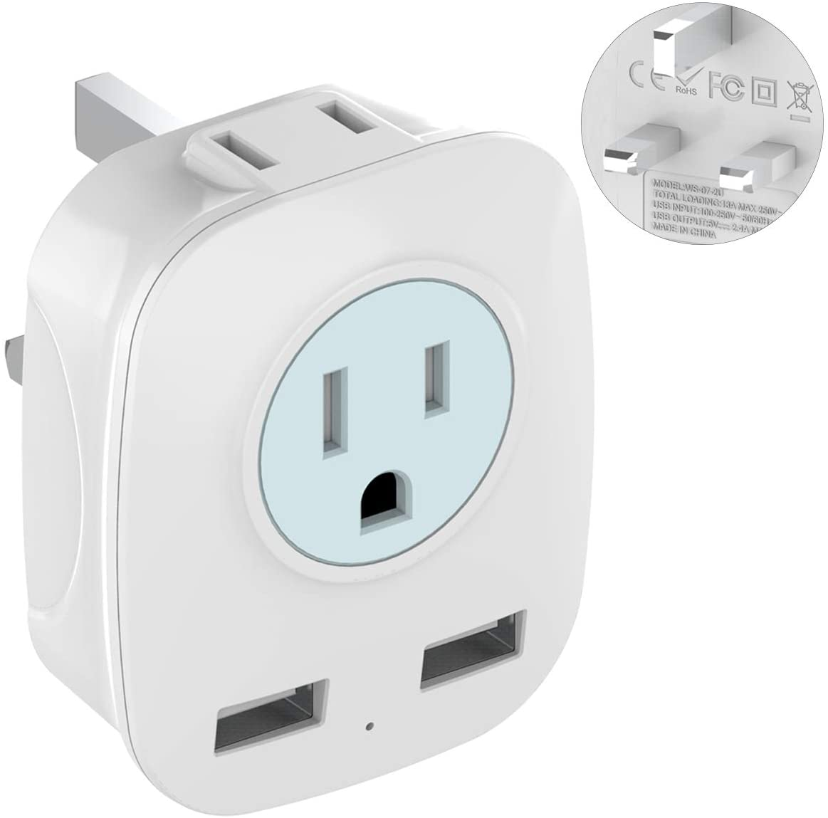 UK Ireland Hong Kong Travel Plug Adapter with 2 USB Ports, International 2-Outlet Power Adapter, Outlet Adapter for USA to British England Scotland Irish London (Type G)