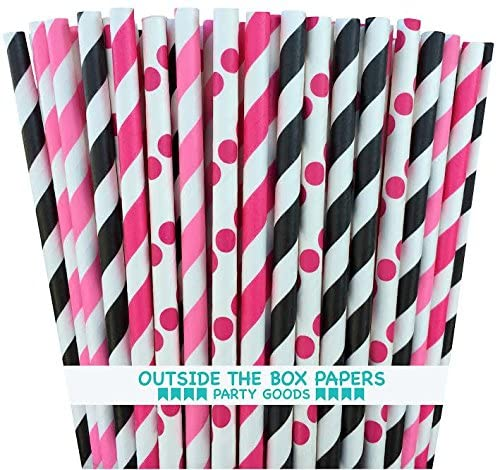 Outside the Box Papers Hello Kitty Theme Polka Dot and Stripe Paper Straws 7.75 Inches 100 Pack Pink, Hot Pink, Black, White