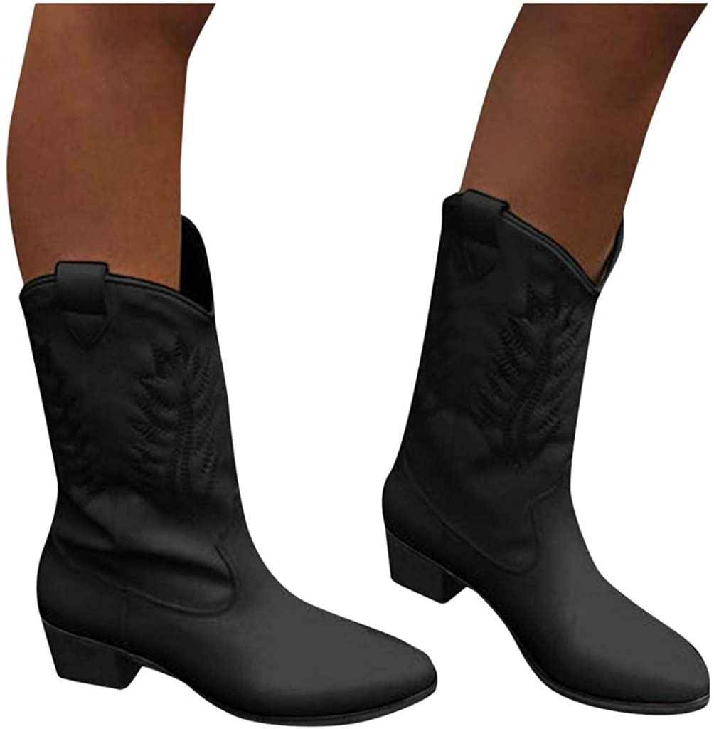 Middle Boots for Women,Fashion Women Flats Round Toe Low-Heeled Casual Shoe Western Cowboy Knight Slip-On Bootie