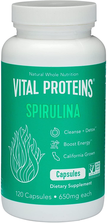 Spirulina Powder Pills 650mg 120 Capsules - Vital Proteins High in Vitamin A & K, Vegan Friendly A
