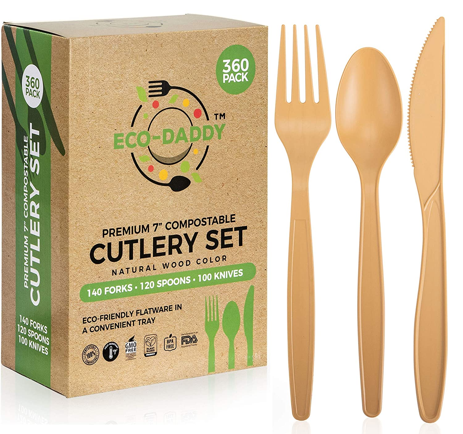 Eco-Daddy - Disposable Compostable Cutlery Set 360 Pack - Large Premium 7-inch - Heavy Duty - Forks Knives Spoons in a Serving Tray - Natural Wood Color Utensils - Plant Based Biodegradable Flatware