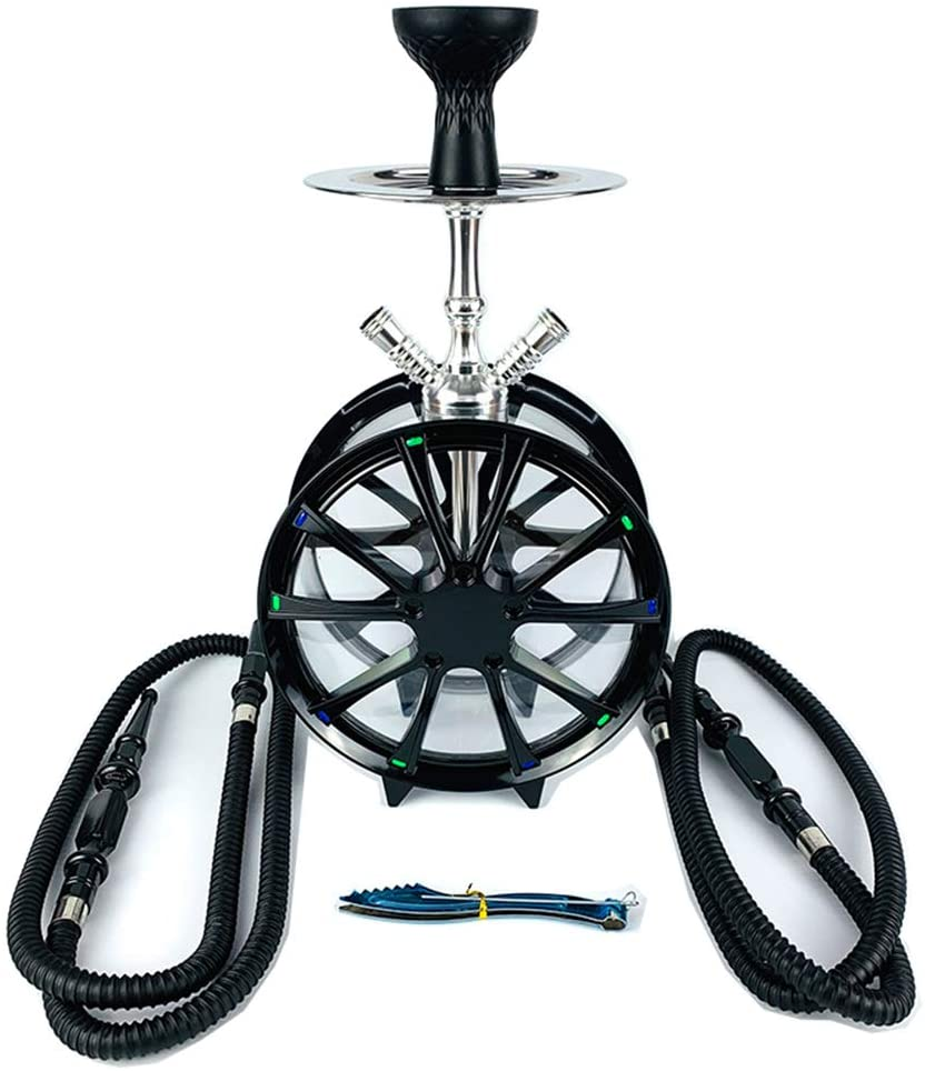 Portable Hookah Set with 2 Hose, 18.5 Inch Detachable Tires Shape Acrylic Arab Shisha Set, Circulation Filtration Easy to Install and Clean Perfect Hookah Kit