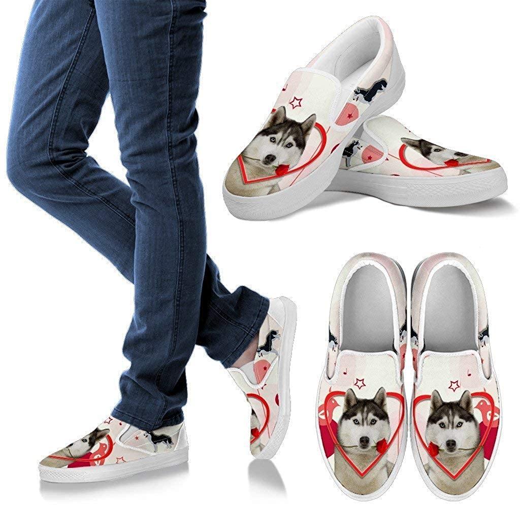 Pet Animal Designs Valentine's Day Special Siberian Husky Print Slip Ons for Women