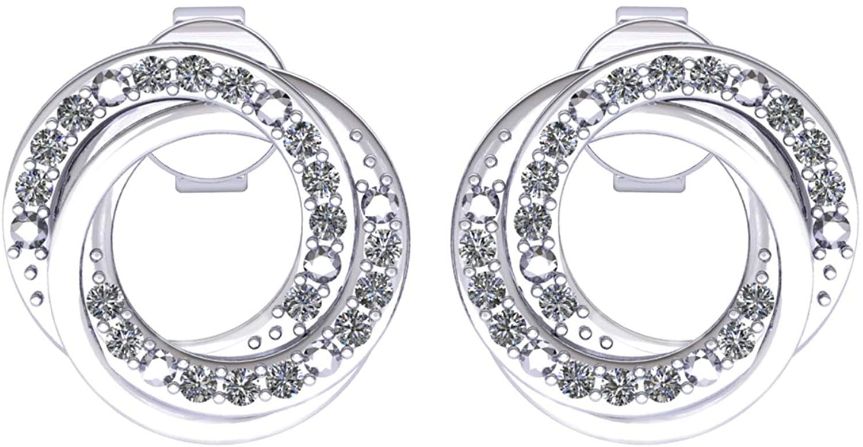 Diamond Stud Earrings for Women IGI Certified Diamond Earrings 0.27 Carat Circle Shape Diamond Stud Earrings 925 Sterling Silver Round-Shape (H-I Color, VS-SI Clarity) Diamond Circle Stud Earrings for Women