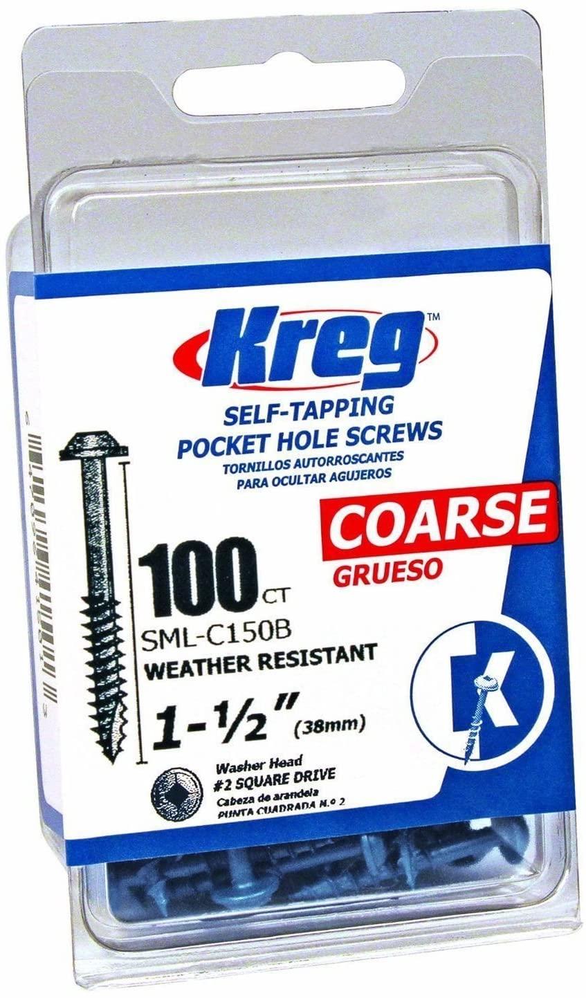 Kreg SML-C150B-100 100 Count 8 X 1-1/2in Rust Resistant Coarse Thread Screws