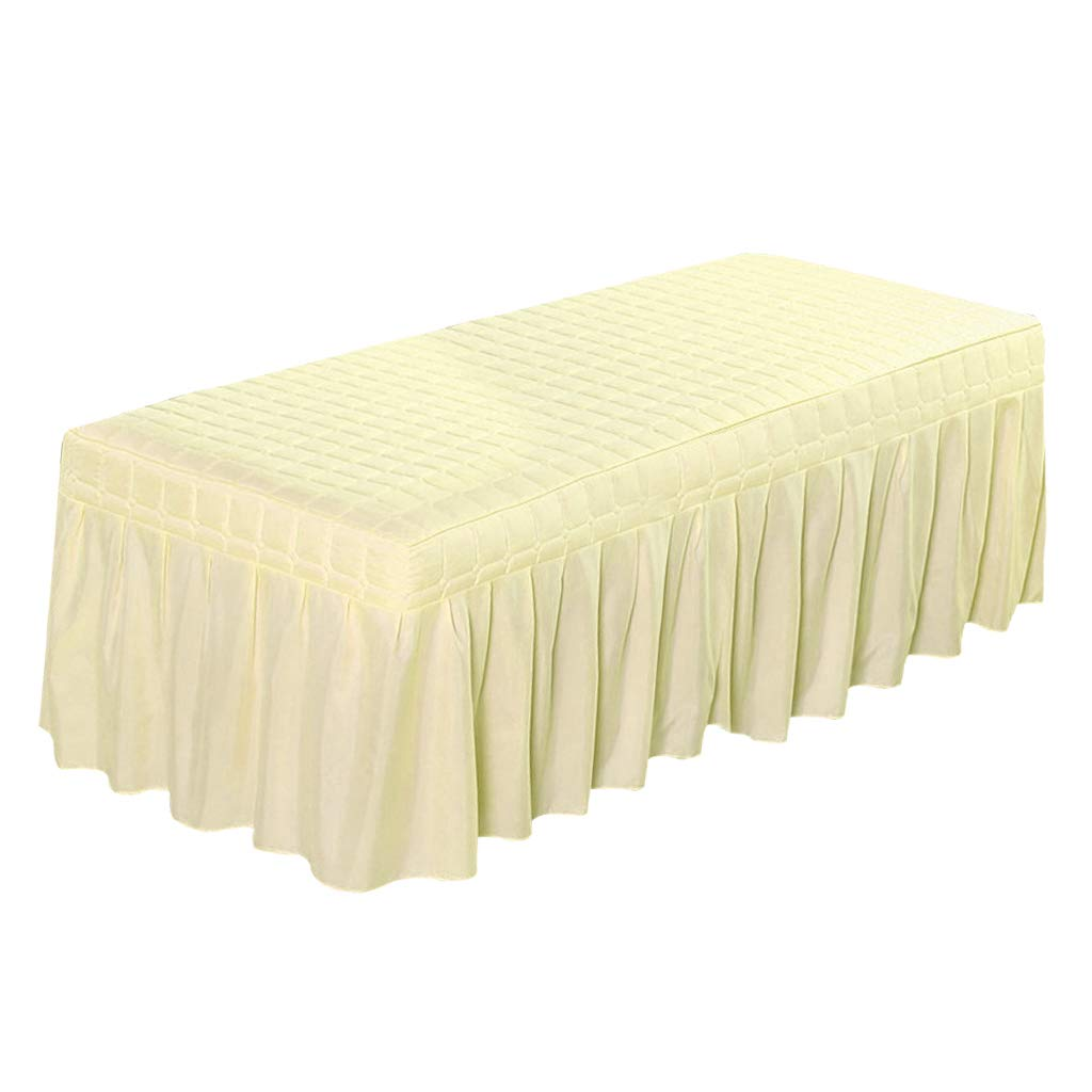 Flameer Solid Color Massage Table Skirt Beauty Facial Bed Bedding Linen Valance Sheet Cover with 21inch Drop Bedskirt - Beige-190x70cm, as described