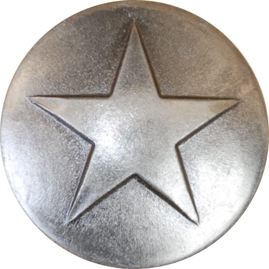25 Old Silver Small Star Upholstery Framing Tacks, Decorative Nails 5/8 Dia Long, Western Texas