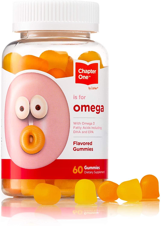 Chapter One Omega Gummies, Great Tasting Chewable Omega 3 Gummies for Kids, Certified Kosher (60 Gummies)