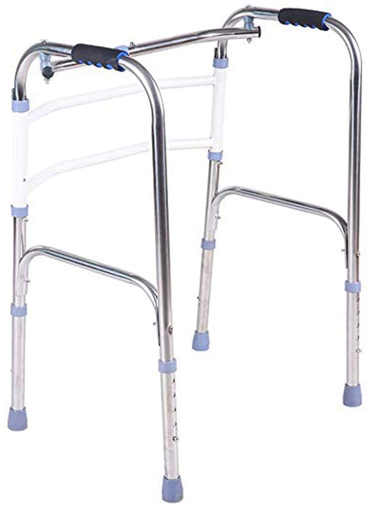 DAGCOT Elderly Walker Foldable Corner Cane Stainless Steel Walker Wheelless Folding Walker