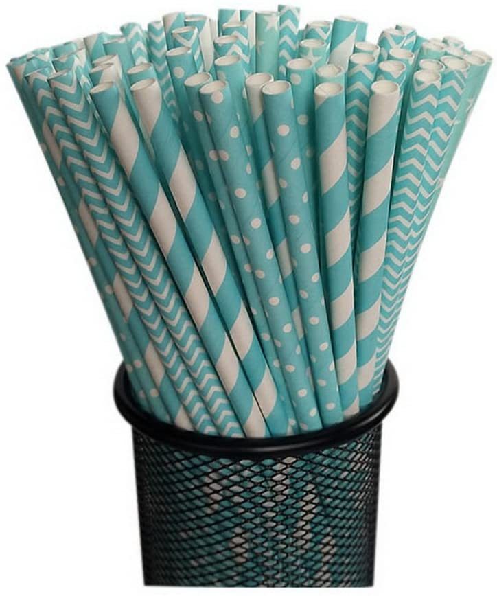 Gentle Meow 100 Pack Blue Series Disposable Drinking Straws Decorative Beverage Paper Straws