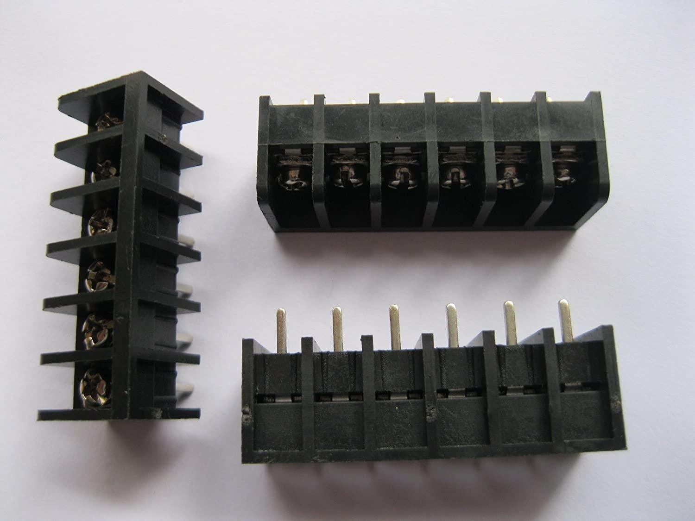 200 Pcs Barrier Type Black Color 6way/pin Pitch 8.25mm Screw Terminal Block Connector DC39B Skywalking
