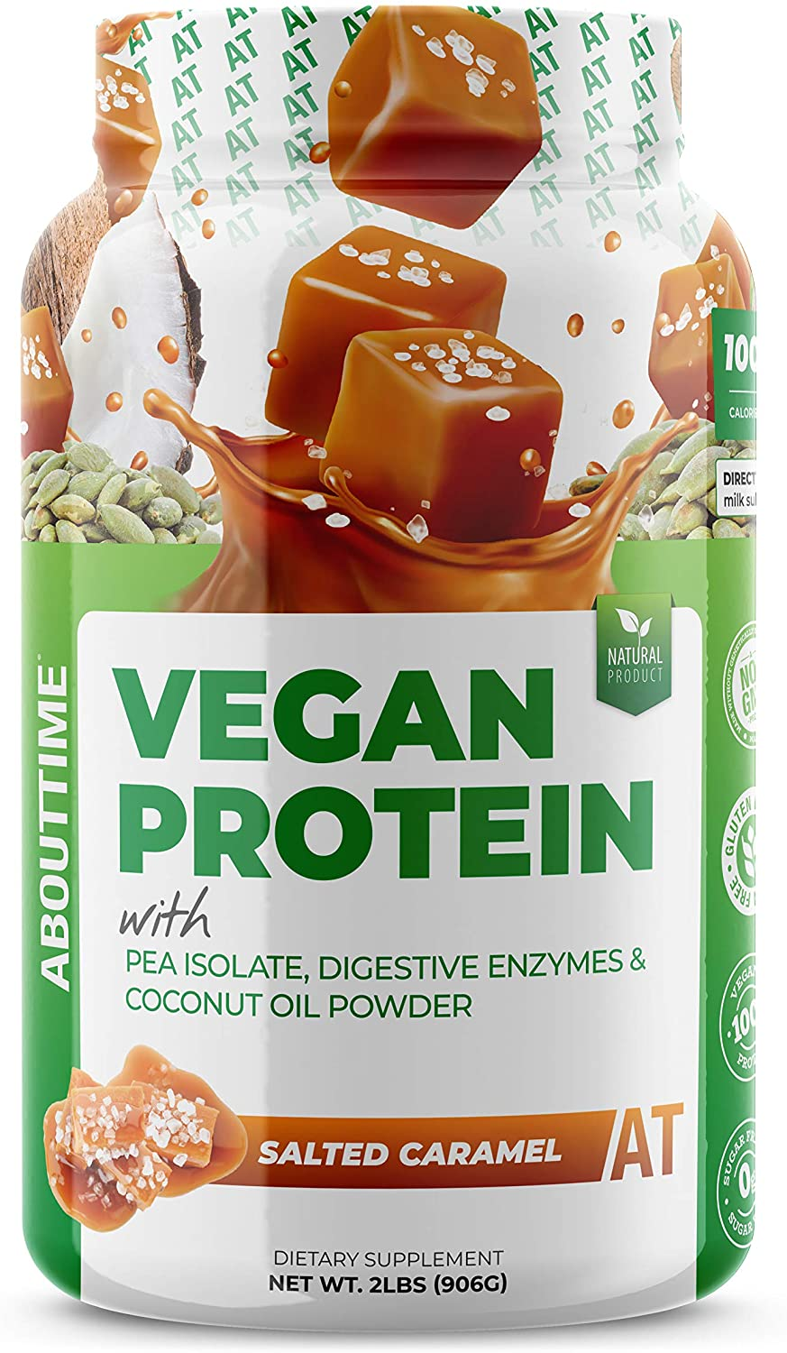 About Time Vegan Protein Supplement, Salted Caramel, 2 Pound