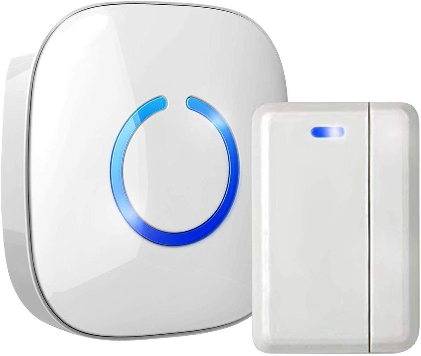 Hands-Free Door Chime or Window Alert with Magnetic Sensors, Activates When Door or Window is Opened, Door Open Chime or Window Alert, 1 Door Sensor + 1 Plug-in Receiver