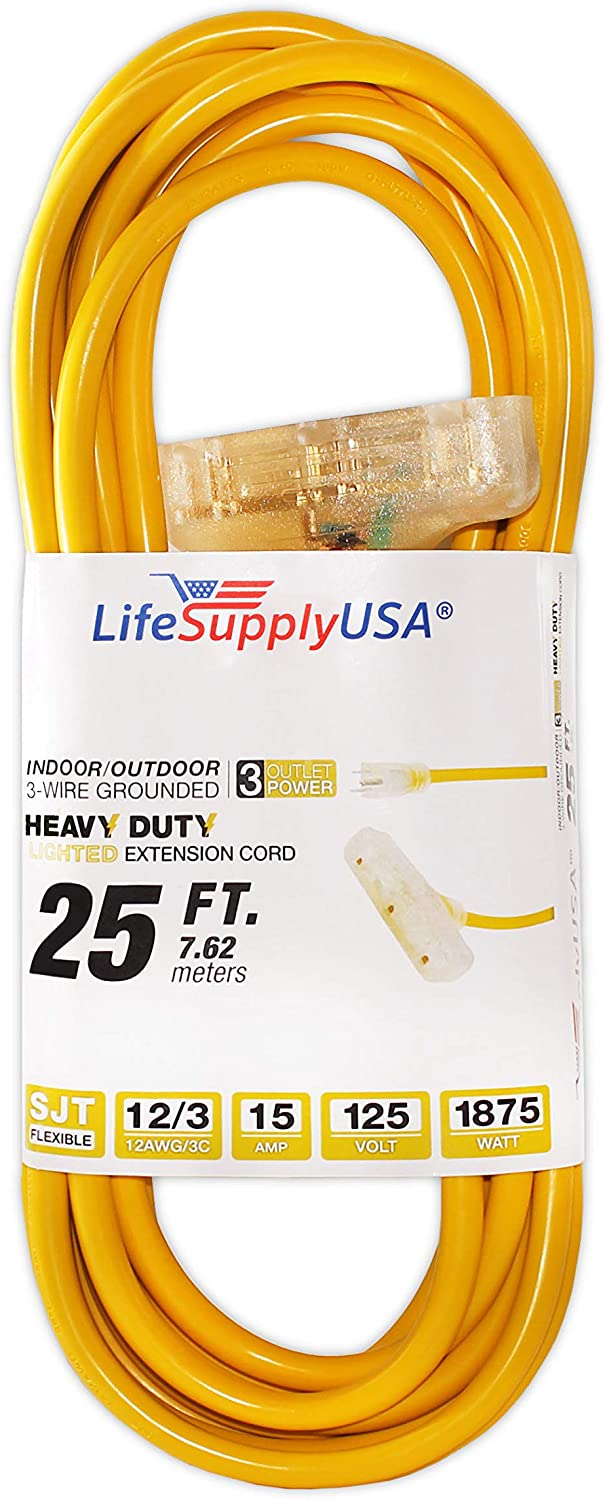 LifeSupplyUSA 100 case 12/3 25ft Wire Gauge 3 OUTLET Tri-Source SJT Indoor Outdoor Vinyl LIGHTED Electric Extension Cord, 25 Feet