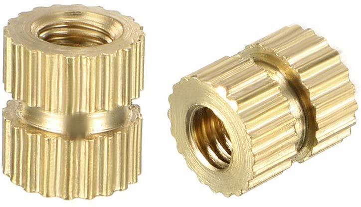 uxcell Knurled Threaded Insert, M3 x 6mm L x 5mm OD Female Thread Brass Embedment Nuts, Pack of 50