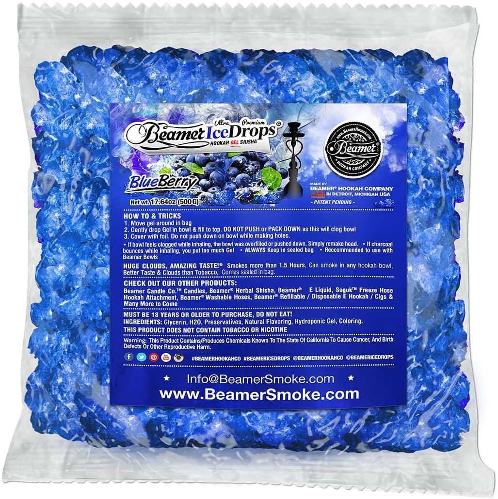 Blueberry 500G Ultra Premium Beamer Ice Drops Hookah Shisha Smoking Gel. Each Bowl Lasts 2-4 Hours! USA Made, Huge Clouds, Amazing Taste! Better Taste & Clouds Than Tobacco!