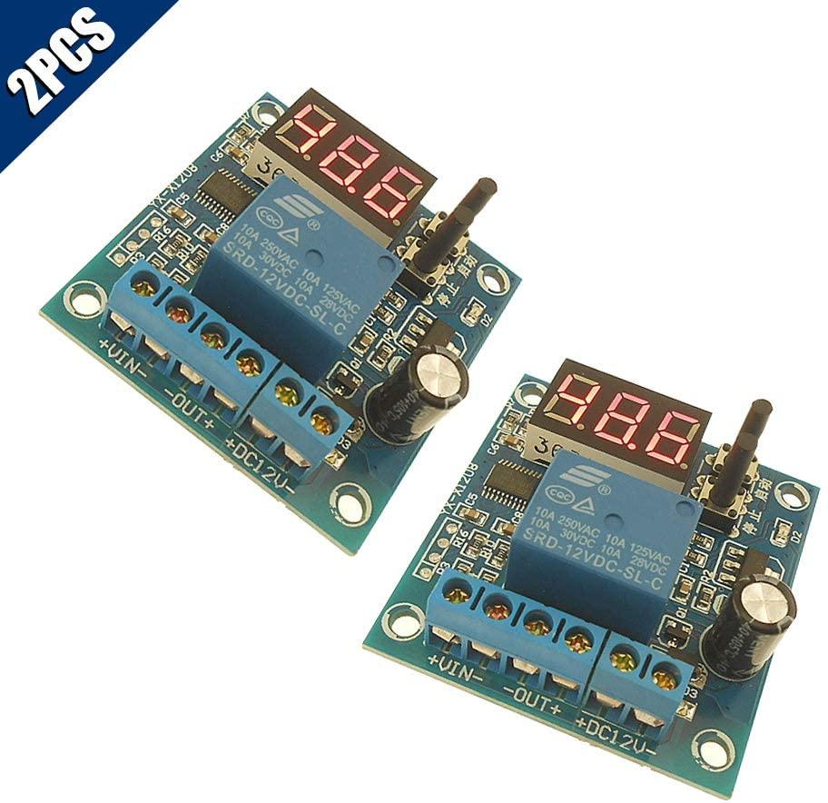 KOOBOOK 2Pcs 12V Battery Undervoltage Switch Anti-Over Discharge Storage Battery Protection Board Undervoltage Controller Module LED Display