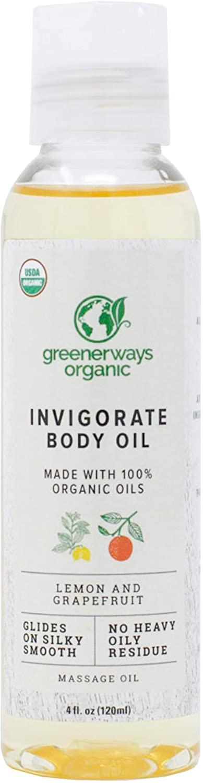 Greenerways Natural Invigorating Body Oil - USDA Certified - Lemon Grapefruit Oil for Glowing Skin - Phytonutrient Rich Massage Oil - Professional Skin Care Treatment - 4 oz / 120 ml