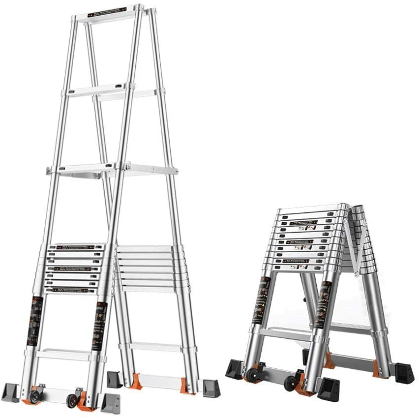 LADDERS Ladders Multi-Purpose A-Frame Telescoping Folding Aluminum Heavy Duty Step with Balance Bar for Home or Engineering (Size : 2.4M/7.9Ft)