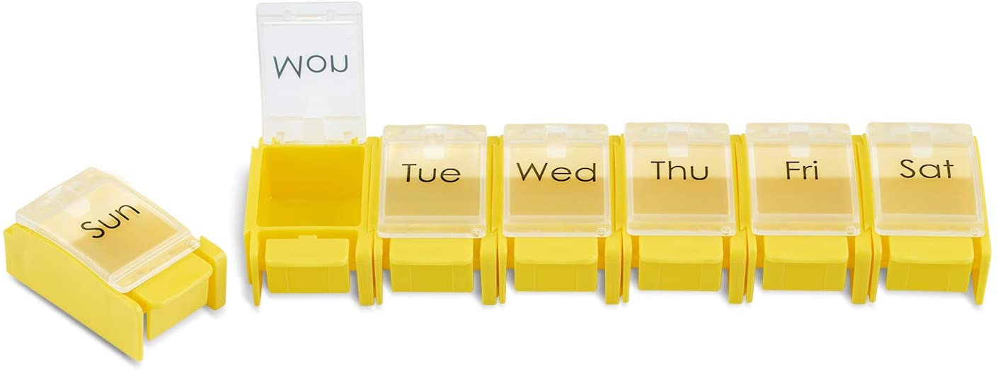 ZAXOP Pill Organizer Detachable Weekly Pill Box with Push Button 7 Day Pill Case Colourful(Yellow)