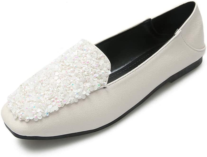 Women Comfortable Flats Square Toe Slip on Casual Glitter Bling Boat Walking Shoes