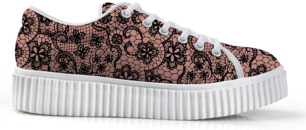 Zzjsstore Design Low Shoes 3D Printed Black Drawing Patterned Low Shoes are Suitable for Women's Leisure