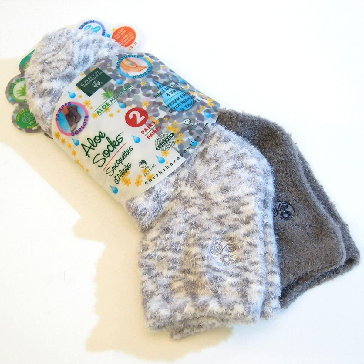 Aloe Moisture Socks by Earth Therapeutics, 2 Pack: Gray, Plaid, Infused with Natural Aloe Vera Vitamin E