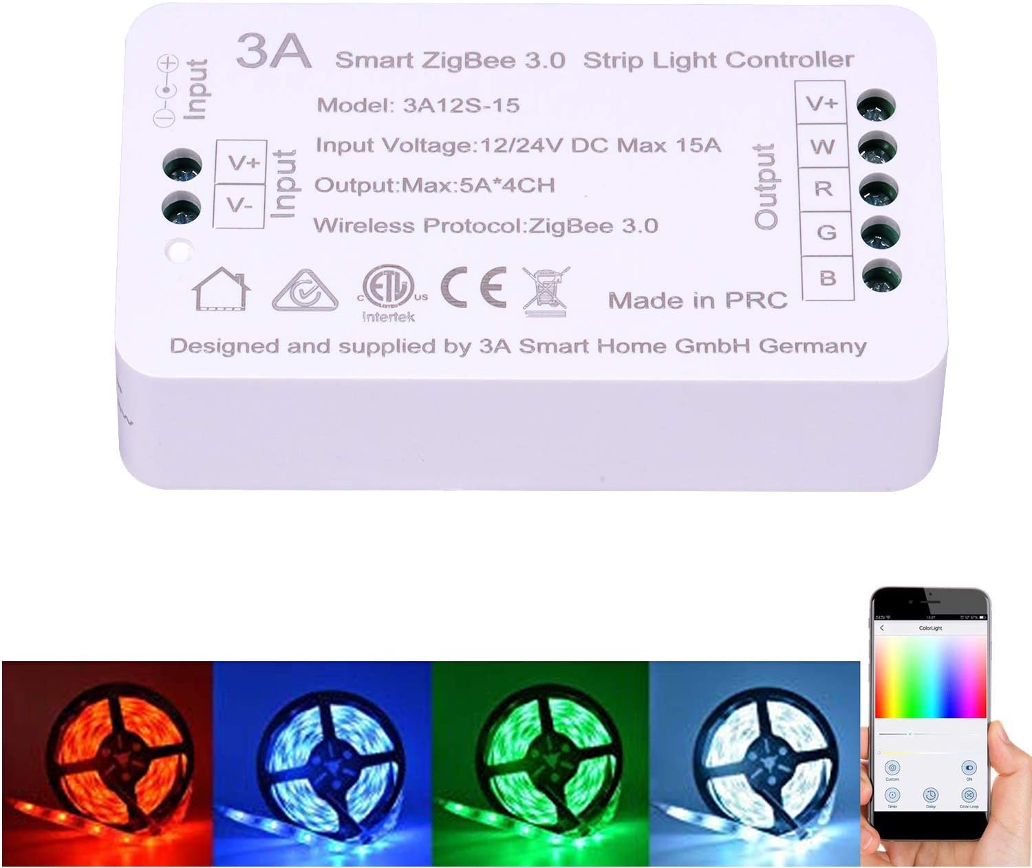 12 / 24V DC Smart ZigBee RGBW RGB Strip Light Controller Switch for Normal Strip Light Automation and Alexa Control