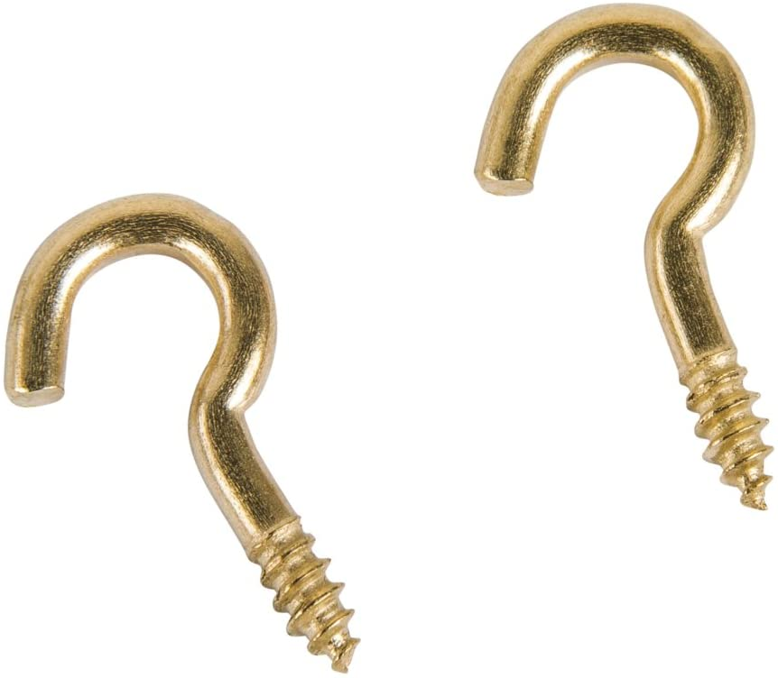 Rayher 8936866 Screw Hook Curved 24 Pieces, Brass, 15 mm