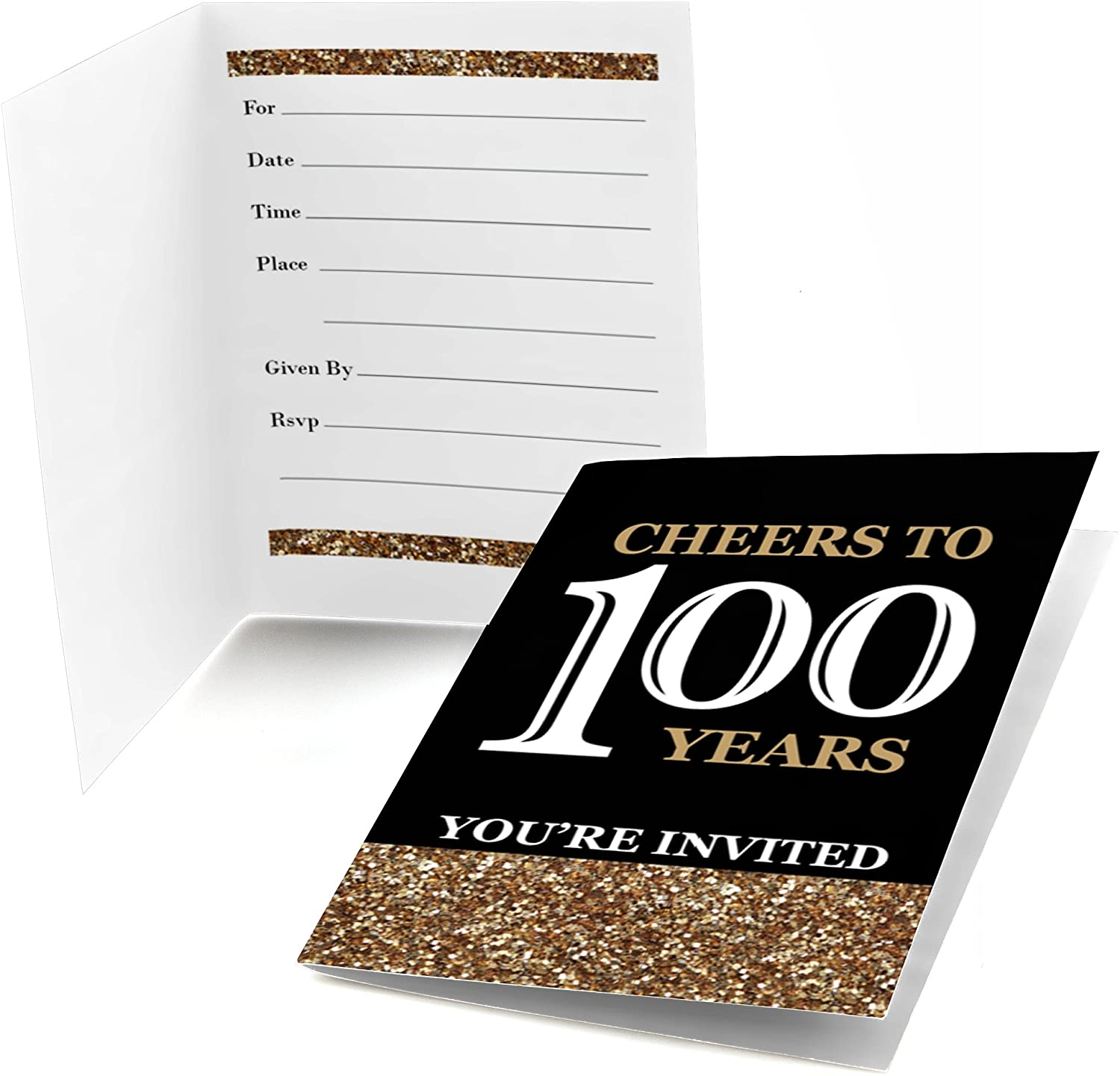 Big Dot of Happiness Adult 100th Birthday - Gold - Fill-in Birthday Party Invitations (8 Count)