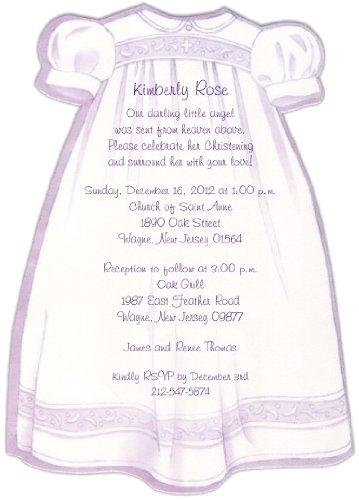 Purple Christening Gown Baptism Christening Invitations - Set of 20