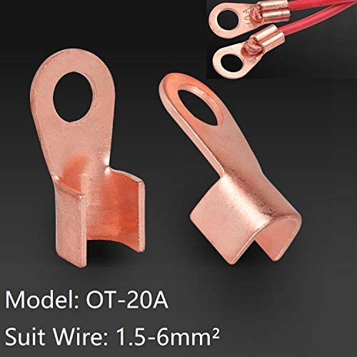 Davitu Terminals - 10pcs OT-20A Type Wire Connector Red Copper Bare Nose Splice Hole Dia 6.2mm Open Mouth Cable Square 1.5-6mm Lugs Crimp Terminal