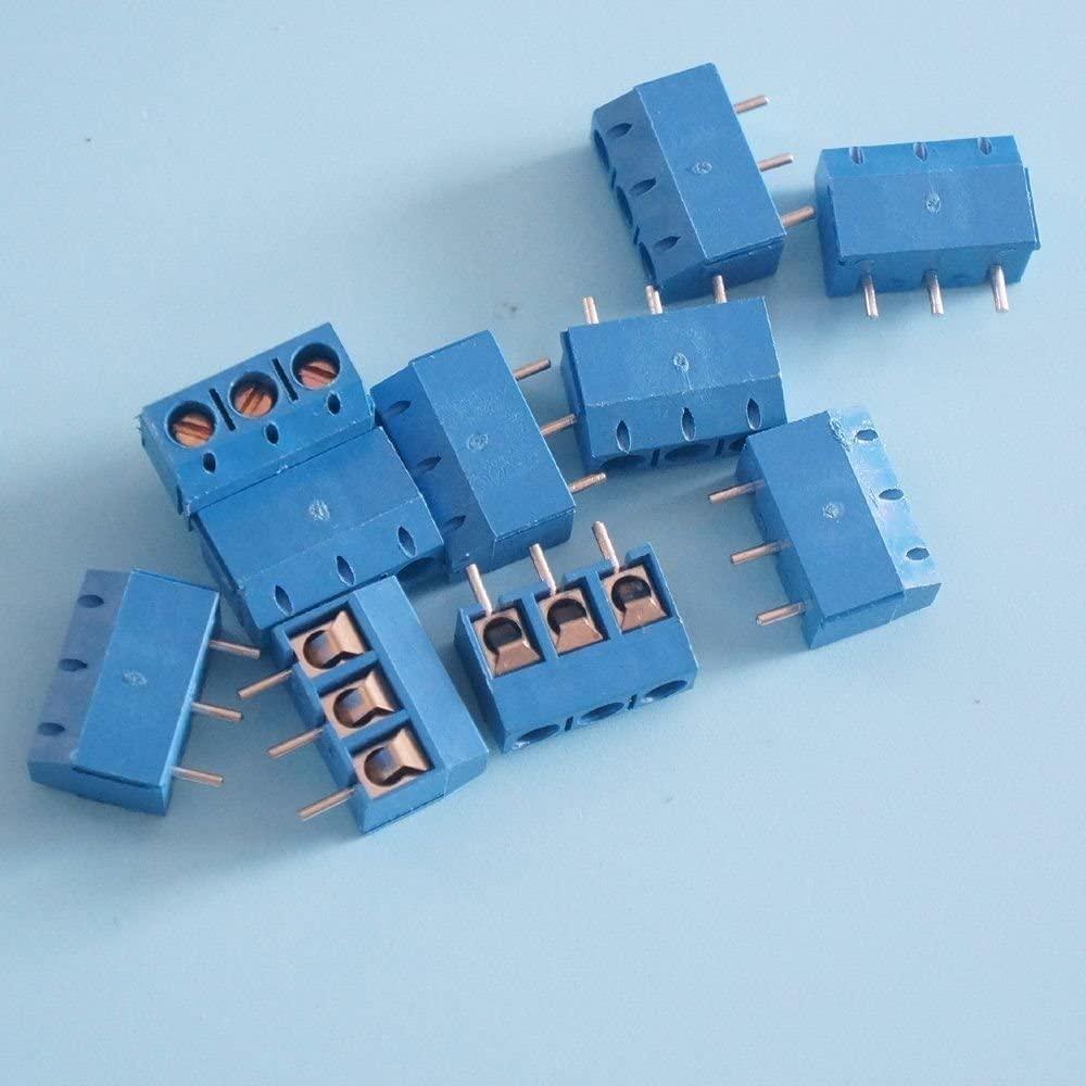 Exiron 50PCS Screw Terminal Block Connector 3Pins 5mm Pitch KF301-3P 5.08 300V/16A