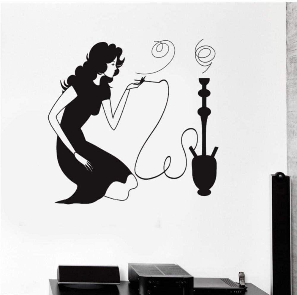 Woman Smoking Hookah Shisha Arabic Smoke Cafe Removable Vinyl Wall Stickers Shop Window Decoration