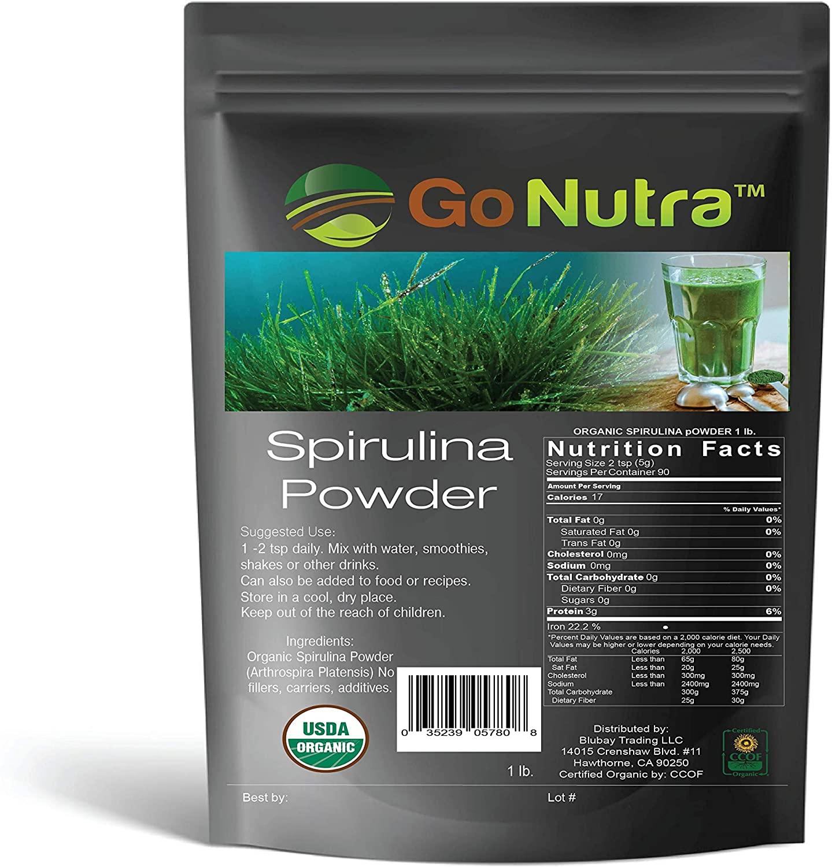 Spirulina Powder Organic 1 lb - 16 oz | Pure Non GMO Superfoods for Antioxidant, Minerals, Fatty Acids, Fiber & Protein | Vegan Friendly | USDA Certified